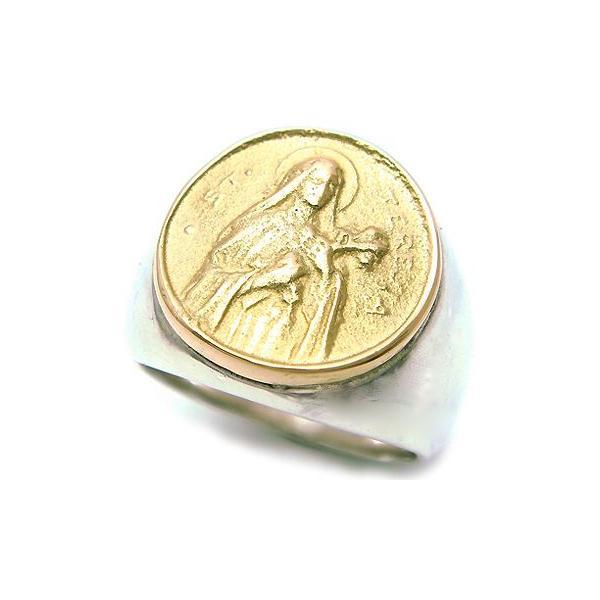 K18 マリアコイン付きシルバーリング/印台/シンプル/18金ゴールド/シルバー925/銀/指輪