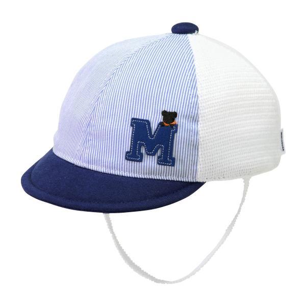 ミキハウス mikihouse Mワッペン付メッシュキャップ 帽子  〈SS-S 40cm-48cm 〉42-9103-975