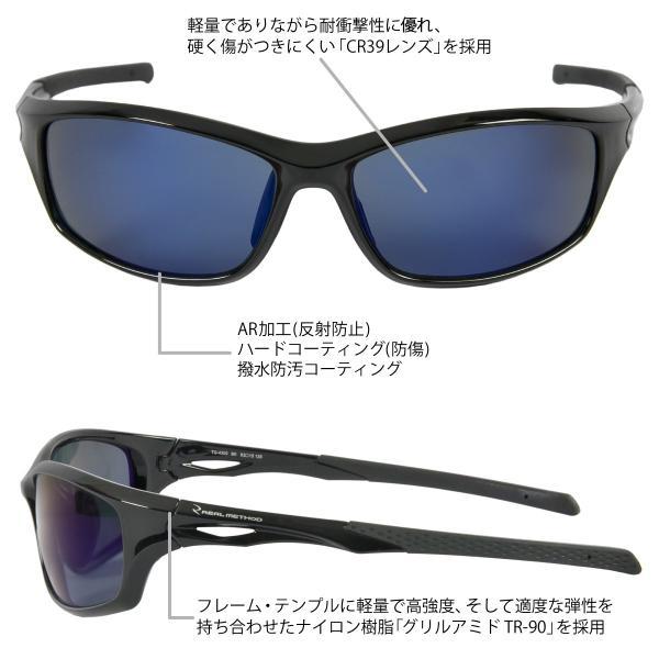 タカミヤ REALMETHOD 偏光グラス スクエア型 艶ありブラック/ブルーミラーレンズ(東日本店)