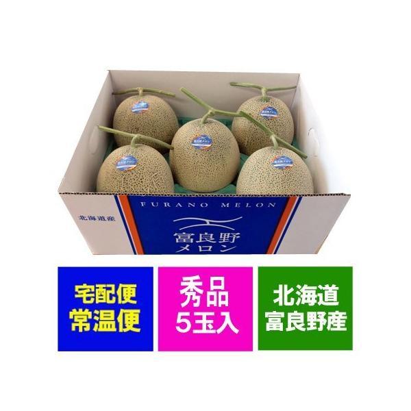 メロン 送料無料 富良野メロン 北海道産 ふらのメロン 8kg 5玉入 1箱(1ケース)価格7555円 メロン 秀品 北海道 赤肉メロン