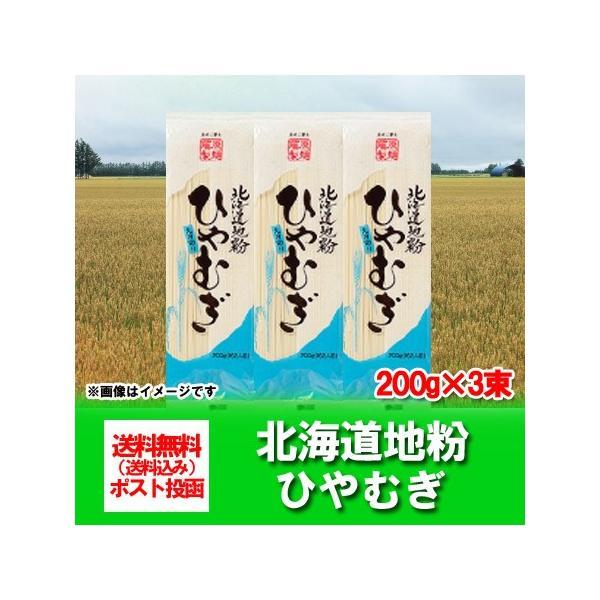 北海道 ひやむぎ 送料無料 乾麺 北海道産地粉を使用 北海道(ほっかいどう)冷麦 200 g×3束 価格 540 円 ポイント消化 540 クーポン 送料無料 メール便 ひやむぎ