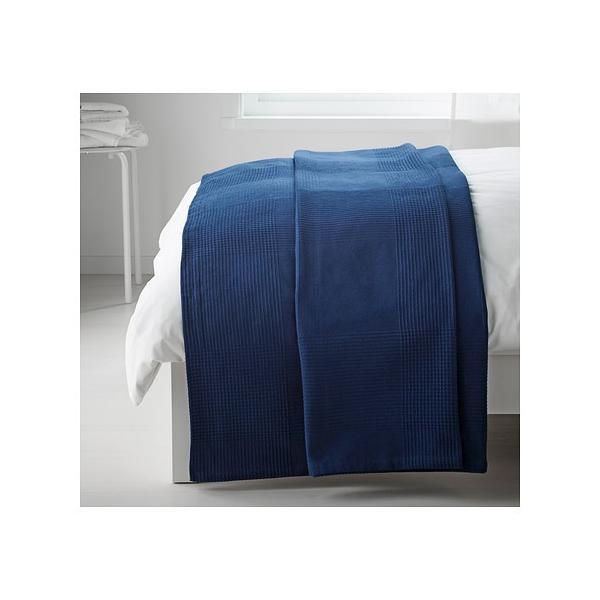 IKEA Original INDIRA ベッドカバー ダークブルー シングルサイズ用 150x250 cm