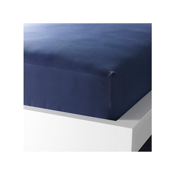 IKEA Original DVALA ボックスシーツ ダークブルー 90x200cm シングルサイズ