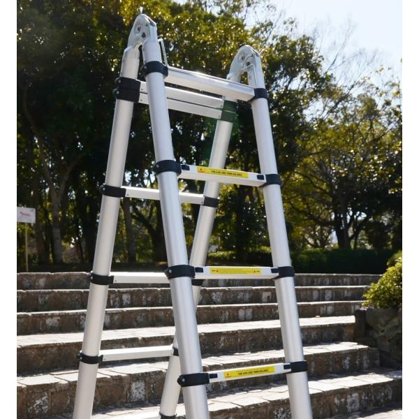 2個セット 折りたたみ伸縮はしご アルミ脚立 3.8m 13段 コンパクト収納 梯子 安全ロック付 軽量 足場 洗車 剪定|pond|02