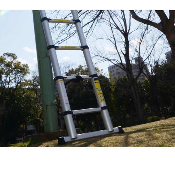2個セット 折りたたみ伸縮はしご アルミ脚立 3.8m 13段 コンパクト収納 梯子 安全ロック付 軽量 足場 洗車 剪定|pond|03