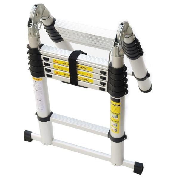 2個セット 折りたたみ伸縮はしご アルミ脚立 3.8m 13段 コンパクト収納 梯子 安全ロック付 軽量 足場 洗車 剪定|pond|04
