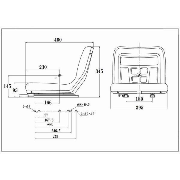 2台セット オペレーターシート 汎用 多目的 座席 交換 前後スライド 防水 建機 重機 ユンボ リフト クレーン|pond|03
