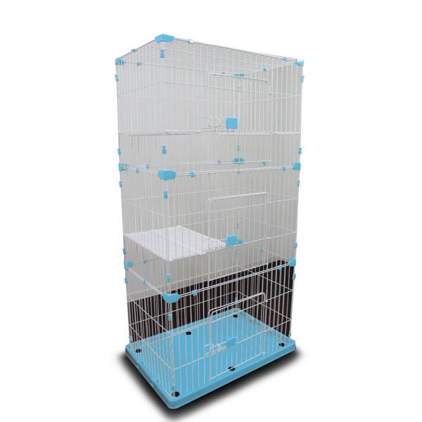 キャットケージ 3段 ペットゲージ ワイドタイプ ハンモック付 猫ケージ うさぎ 小動物 室内ハウス  おしゃれ 大型 ブルー A55BP226B3A3|pond|03