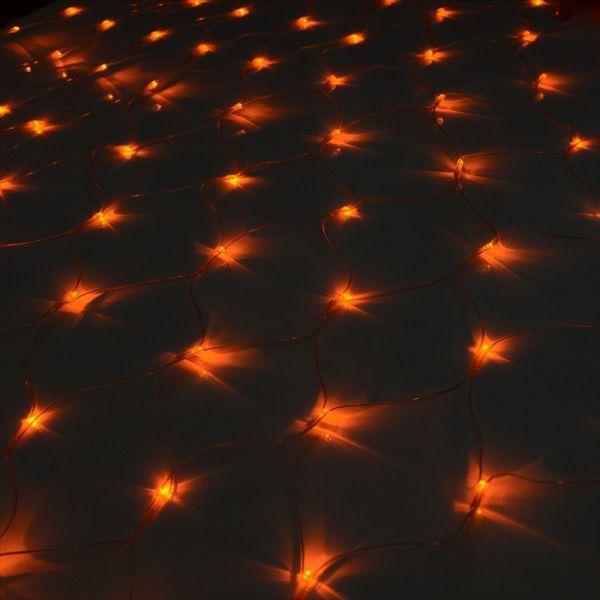 イルミネーションライト LED ネット 160球 ライト クリスマスツリー ハロウィン お祭り 電飾 1Mx2M 橙色 オレンジ コントローラー付 IRMNO160IRMSNC10|pond|02