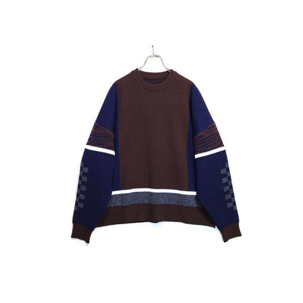 elephant TRIBAL fabrics / Mix Big Knit(NAVY)|pop5151