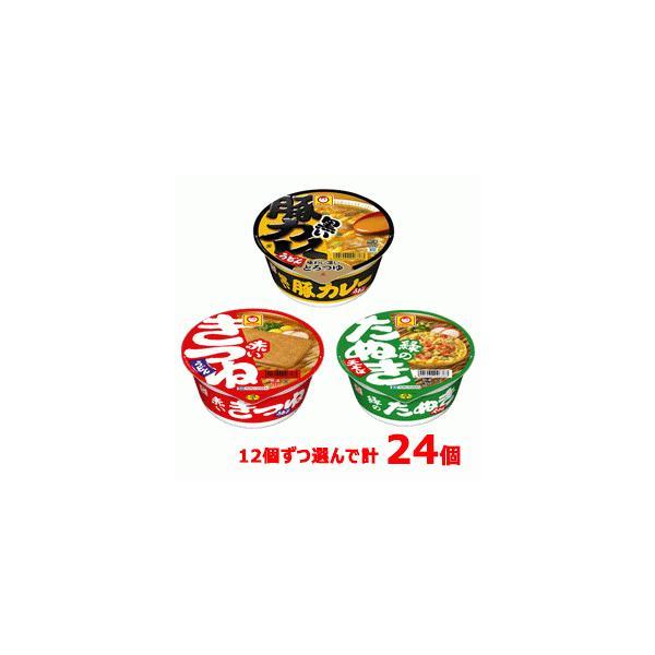 マルちゃん 赤いきつね/緑のたぬき/黒い豚カレーうどん 3種類から12個ずつ選んで 合計24個(2ケース)