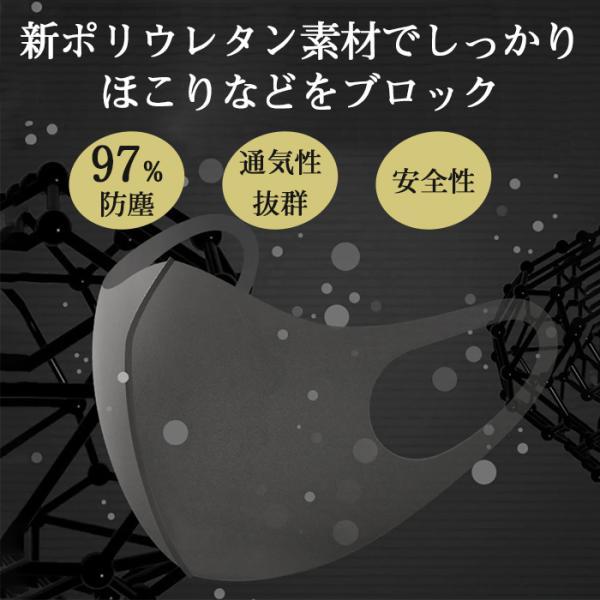 冬用マスク ウレタン 洗える 黒 白 立体 耳痛くならない 立体マスク|popo-fashion|03