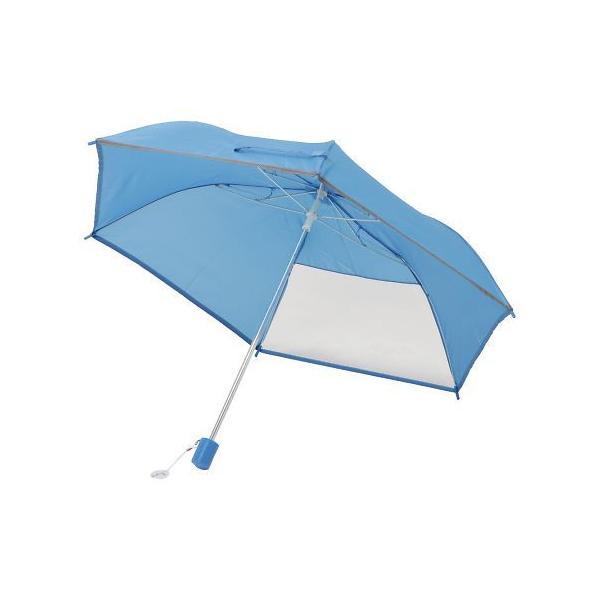 在庫処分品 子供用折りたたみ傘窓付き6本骨50cmブルー