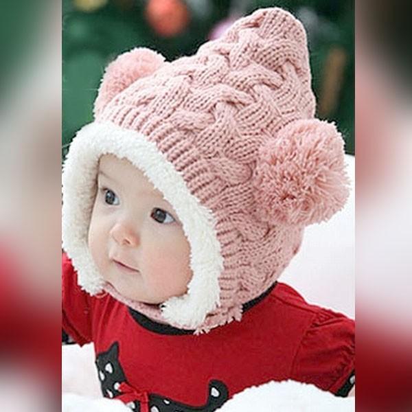 ニット帽 赤ちゃん キッズ くま ベビーニット帽 耳付き ボンボン 男の子 女の子 ボア付き 防寒 キャップ|popularshop