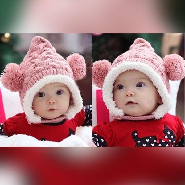 ニット帽 赤ちゃん キッズ くま ベビーニット帽 耳付き ボンボン 男の子 女の子 ボア付き 防寒 キャップ|popularshop|02
