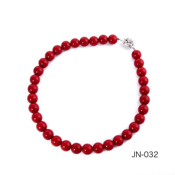 日本製 赤玉(血赤)ネックレス(12mm玉)【赤珊瑚風】