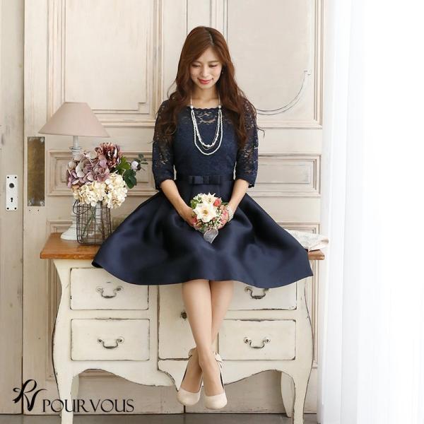 結婚式 ドレス ワンピース パーティードレス レディース 袖あり 2次会 顔合わせ お呼ばれ フォーマル 大きいサイズ 大人 服 女性 上品 20代30代40代50代|pourvous777|14
