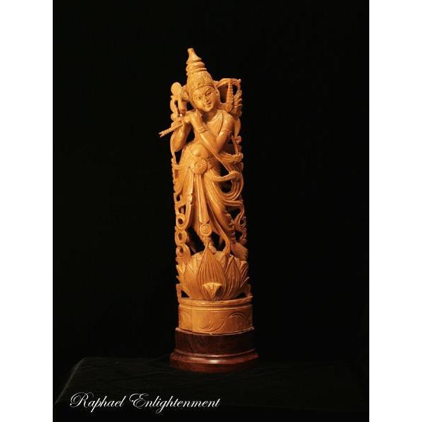 送料無料 神様 仏像 祭壇 限定1体 クリシュナ神仏像 インド白檀 サンダルウッド 総手彫り