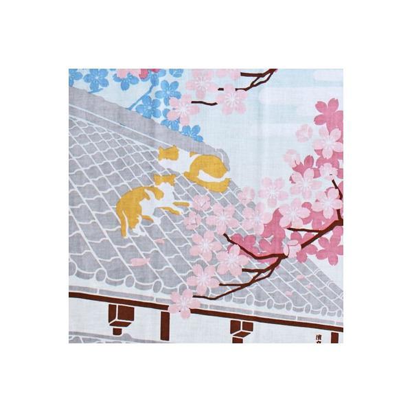 濱文様 絵てぬぐい 瓦屋根でお花見|pp-koshidou