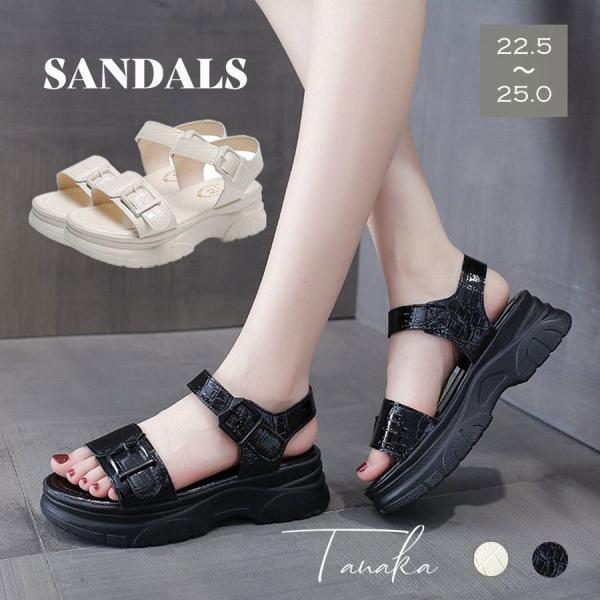厚底サンダル レディース 韓国 夏 スポーツサンダル スニーカーサンダル 白 黒 韓国ファッション