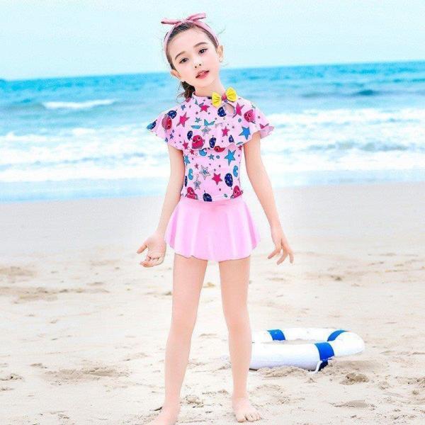 子供服 夏着 女の子2色 水着 2点セット 花柄 上下別水着 キッズ お嬢様風 ビキニ 水着 可愛い満点 ミズギ 女児 水遊び 泳ぎます 水着セット