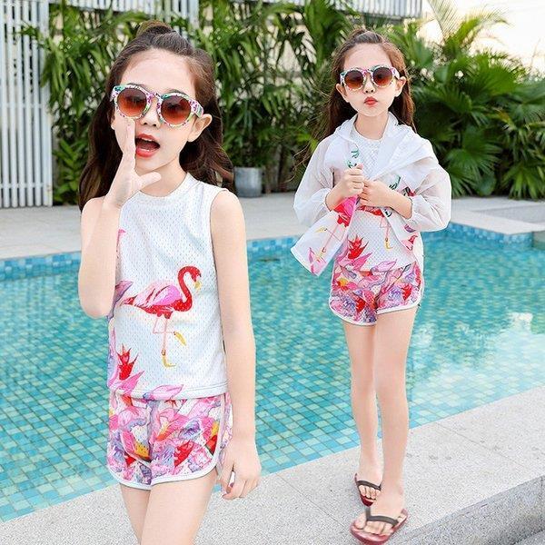 水着 子供水着 女の子 3点セット セパレート 韓国風 体型カバー キャミ バンドゥビキニ 可愛い 紫外線カット ビーチ ミズギ 夏新品