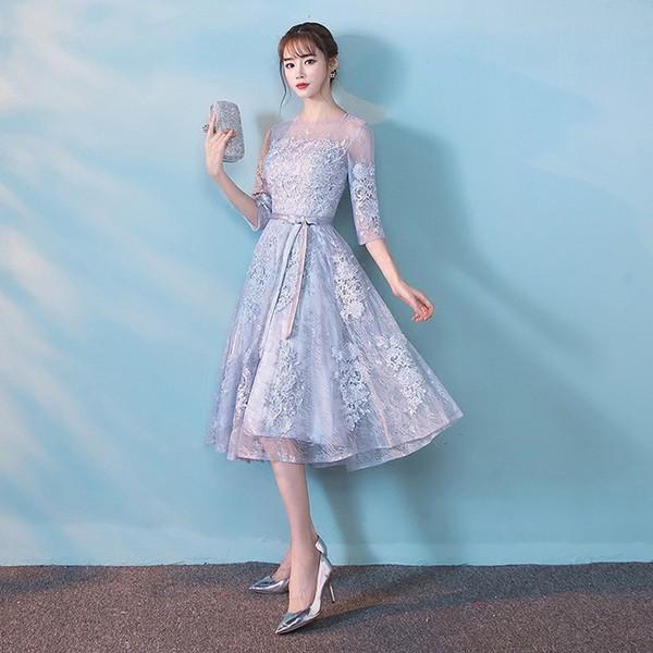 91960fd268bde ... パーティードレス 結婚式ドレス 袖あり ウエディングドレス レース 大きいサイズ 大人 可愛い 上品 お呼ばれ ...