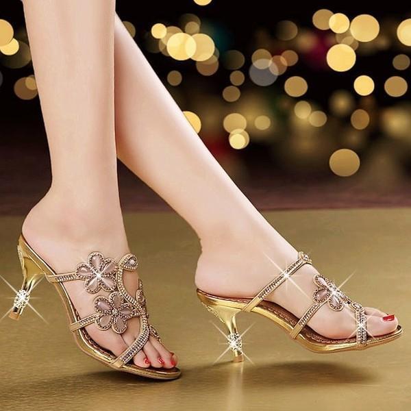 ミュール サンダル ハイヒール ピンヒール ローヒール パーティー 結婚式 お呼ばれ パーティ 演奏会 披露宴 発表会 靴 シューズ