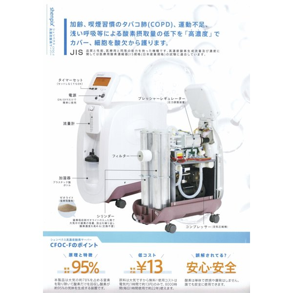 shenpix 酸素濃縮器 CFOC-F (流量5Lで濃度90%維持) CFOC-Fだけの専用酸素マスク付 酸素吸引器 酸素吸入器 酸素発生器|praspshop|10