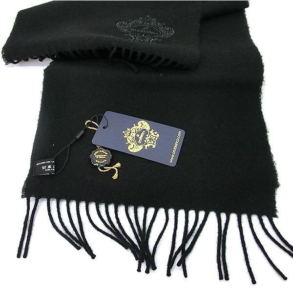 オロビアンコ マフラー ラムウール100% PLAIN OB-1601  SA0900/ブラック 無地 刺繍ロゴ ギフトBOX pre-ma 02