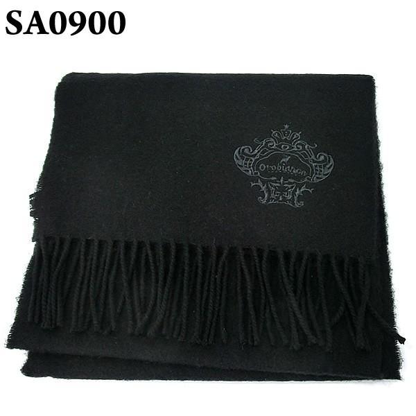 オロビアンコ マフラー ラムウール100% PLAIN OB-1601  SA0900/ブラック 無地 刺繍ロゴ ギフトBOX pre-ma 03