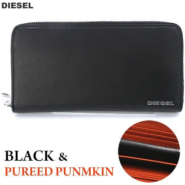 ディーゼル ラウンドジップ 長財布 DIESEL X04458 PR227 H6586 ブラック/オレンジ PEPPER 新品|pre-ma