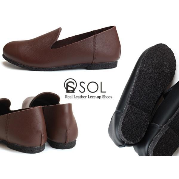 SOL ソル 81010 本革 スリッポン レディース パンプス 痛くない ローヒール フラットシューズ オックスフォード 革靴 ペタンコ 2way