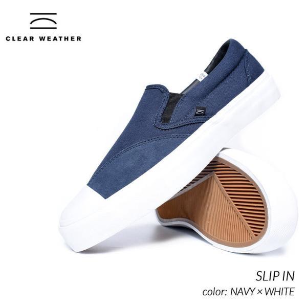 日本未発売 CLEAR WHEATHER SLIP IN NAVY × WHITE クリアウェザー ブランド スリップ イン スニーカー ( 海外限定 スリッポン 紺 CMWF046002 )