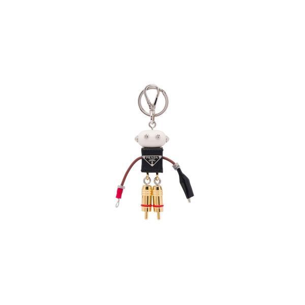 プラダ PRADA キーホルダー キーリング シルバー ロボット メタル レザー|precious01|01