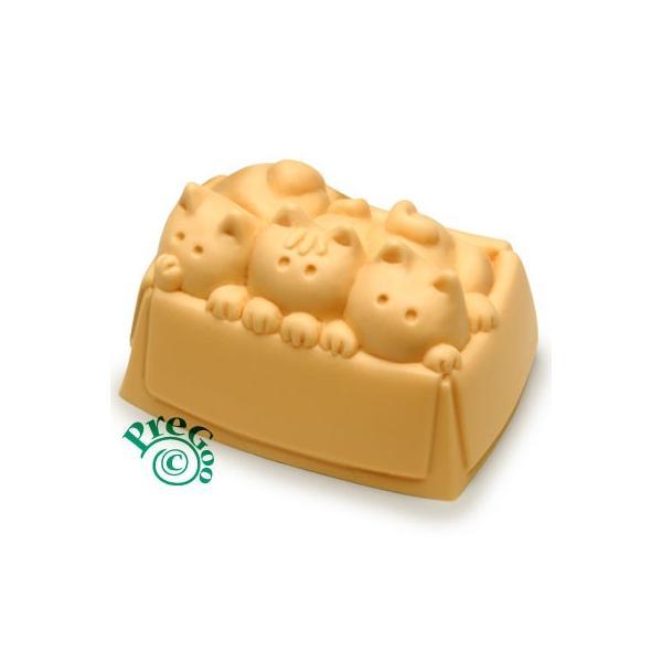 デザイン シリコンモールド / 猫 ぎゅうぎゅう箱ネコ    ( ねこ ネコ )|pregoo