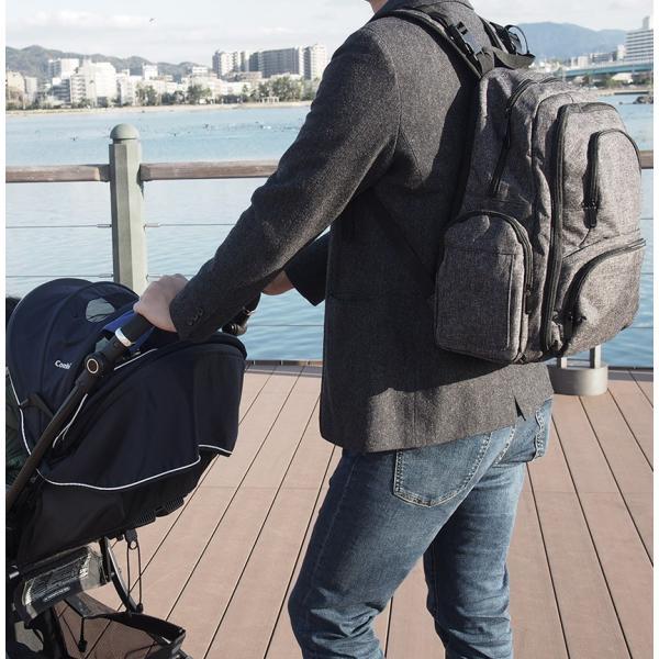 マザーズバッグ リュックサック ディパック ママバッグ 大容量 多機能 軽量 防水 ベビーカー取付可 おむつ替えシート 保冷保温ボトルケース付 出産祝い