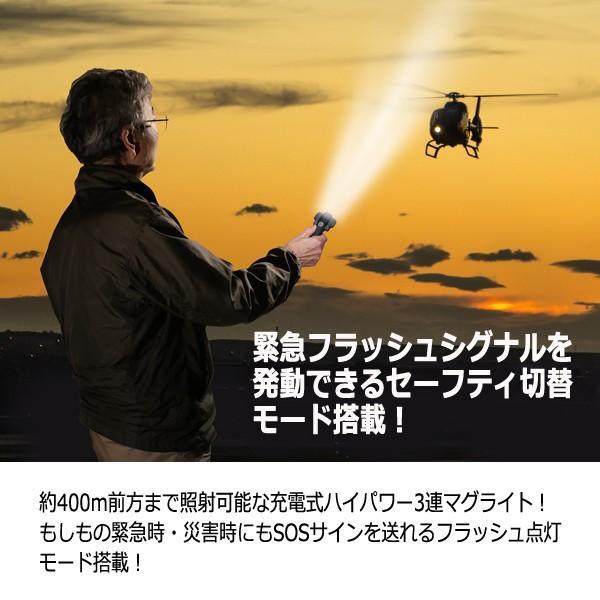 充電式ハイパワー3連LEDフォーカスライト (T-6 マグライト ハンディライト 緊急 320度回転 400m照射 600ルーメン 充電式 USB 4段階点灯) premium-pony 06