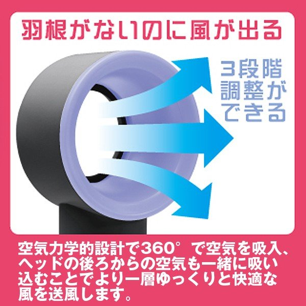 羽根のないミニ扇風機「ウイングレスファン」(暑さ対策 熱中症対策 ハンディファン ミニファン ポータブル扇風機 USB扇風機 羽根無し)|premium-pony|02