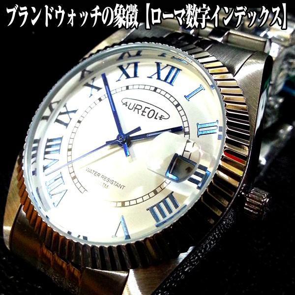 AUREOLE「オレオール」クリスタルローマメタルウォッチ(富士山時計,JAPAN特製モデル,メンズ,腕時計,スイス時計,日本製ムーブメント,100m防水)|premium-pony|02