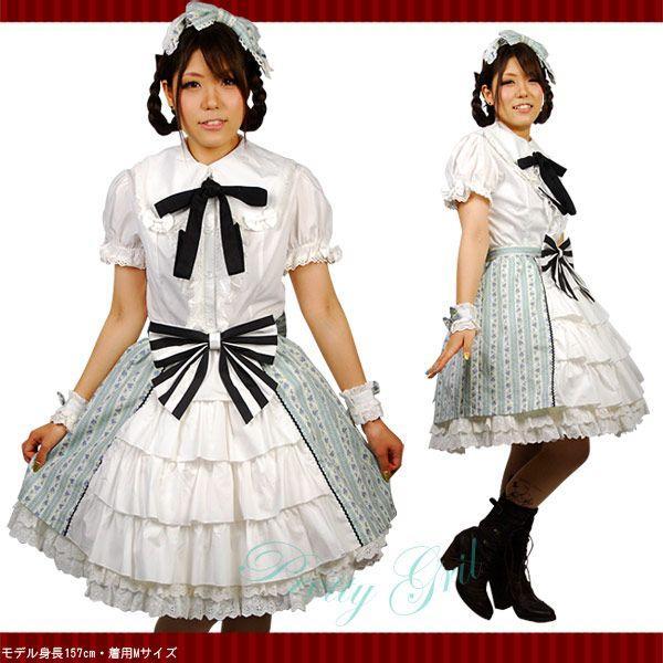 8mm スカート フロント ティアード 青花柄 リボン付き ゴスロリ ロリィタ ガーリー prettygirl 03
