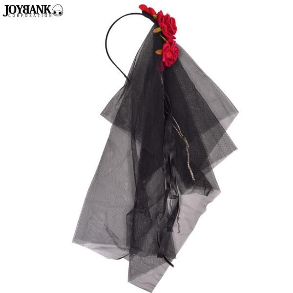ブラックベールカチューシャ 真っ赤な薔薇付き ヘアアクセ ヘッドドレス ゴスロリ