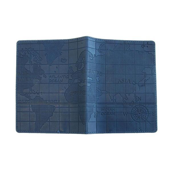 スキミング防止機能付き パスポートカバー ワールドマップネイビー