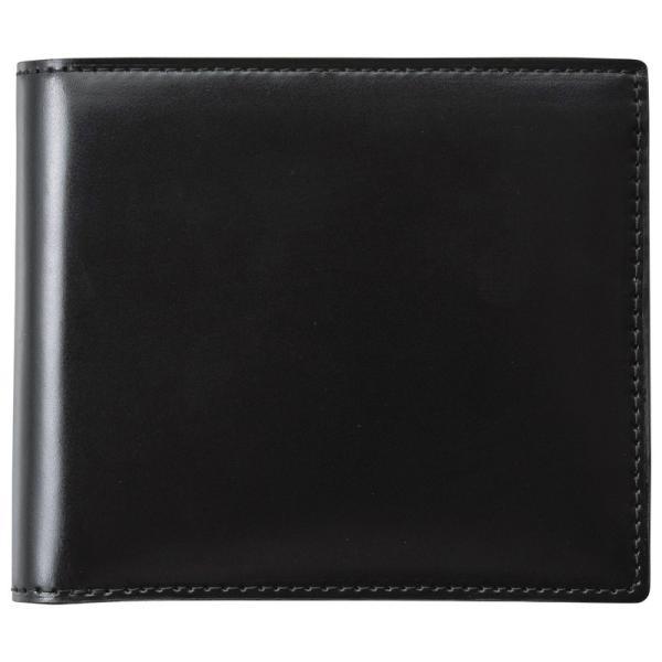 コードバン二つ折財布(ブラック) (S-NOM153102BK)