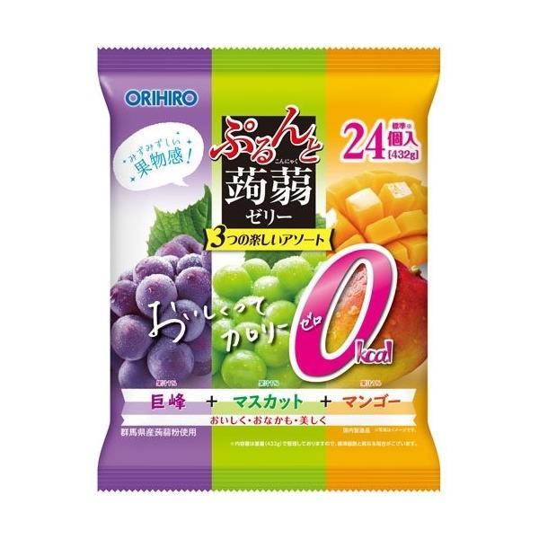 オリヒロ ぷるんと蒟蒻ゼリーパウチ カロリーゼロ 巨峰+マスカット+マンゴー