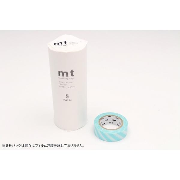 [カモ井加工紙] mt 8P ストライプ・ミントブルー/マスキングテープ