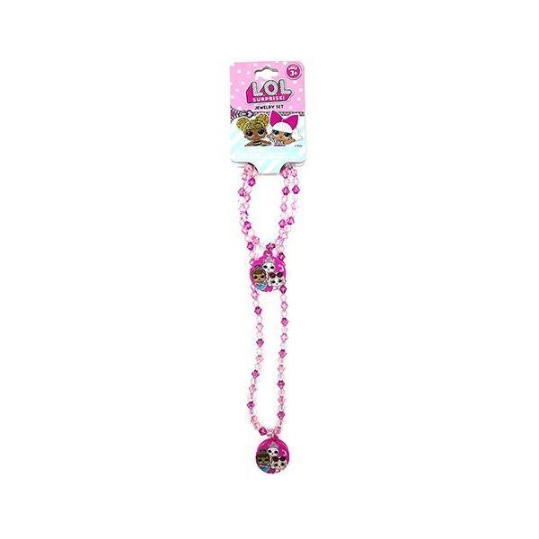 L.O.L チャーム付き ネックレス&ブレスレット ピンク 15432b ビーズ カラフル かわいい キッズ アクセサリー