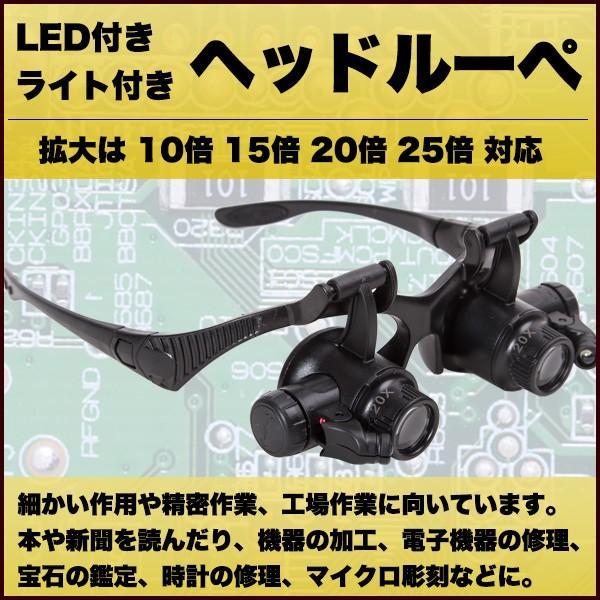 ルーペ メガネ LED ヘッドルーペ 拡大鏡 10倍 15倍 20倍 25倍 軽量 LEDライト付き 虫眼鏡 ヘッドバンド めがね 眼鏡 鑑定 修理 工具 精密