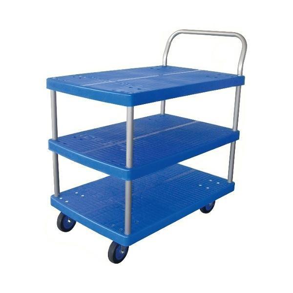 プラスチックテーブル台車 テーブル3段式 最大積載量150kg PLA150Y-T3