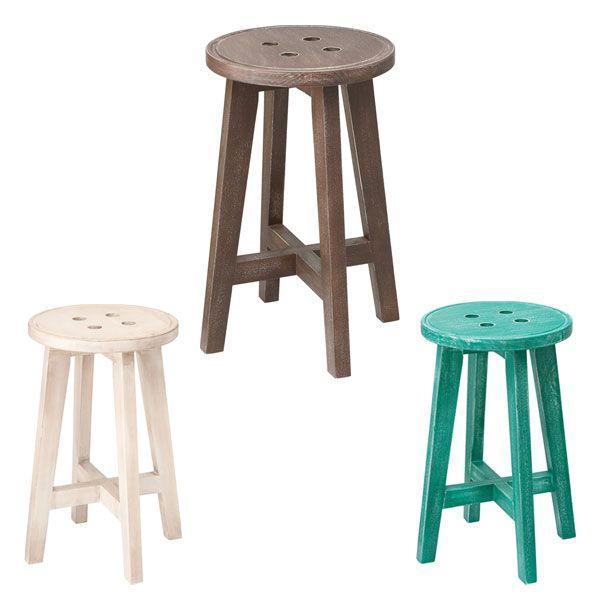 ボタン風 木製 椅子 スツール チェア イス 北欧 キッチン かわいい オシャレ LFS-452 東谷